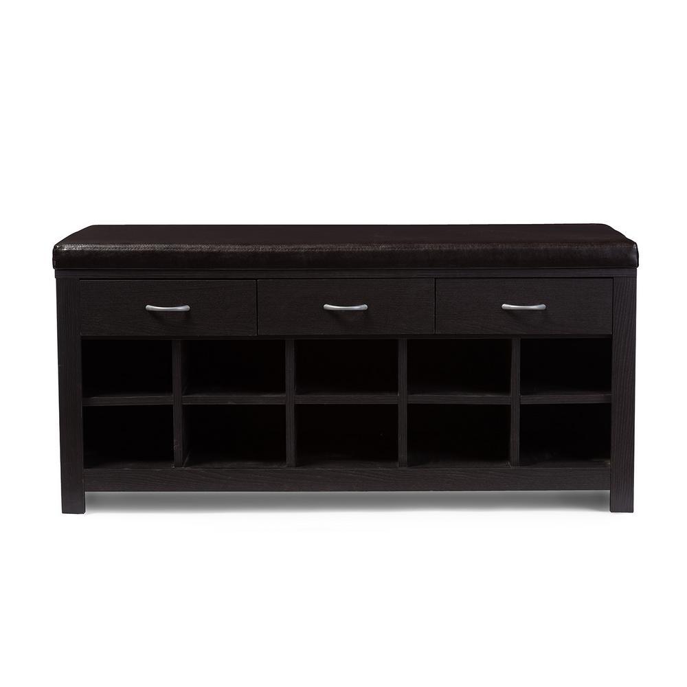 10-Pair Shir Dark Brown Wood Storage Bench Shoe Organizer
