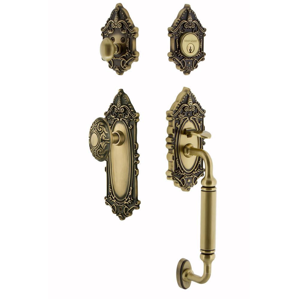 Victorian Plate 2-3/8 in. Backset Antique Brass C Grip Entry Set Victorian Knob