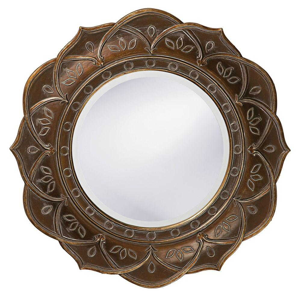 null 22 in. x 22 in. Antique Pewter Wood Framed Mirror