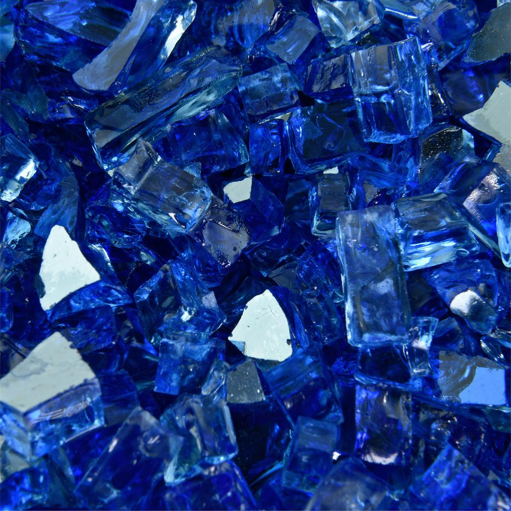 10 lbs. of Deep Sea Blue 1/4 in. Reflective Fire Glass