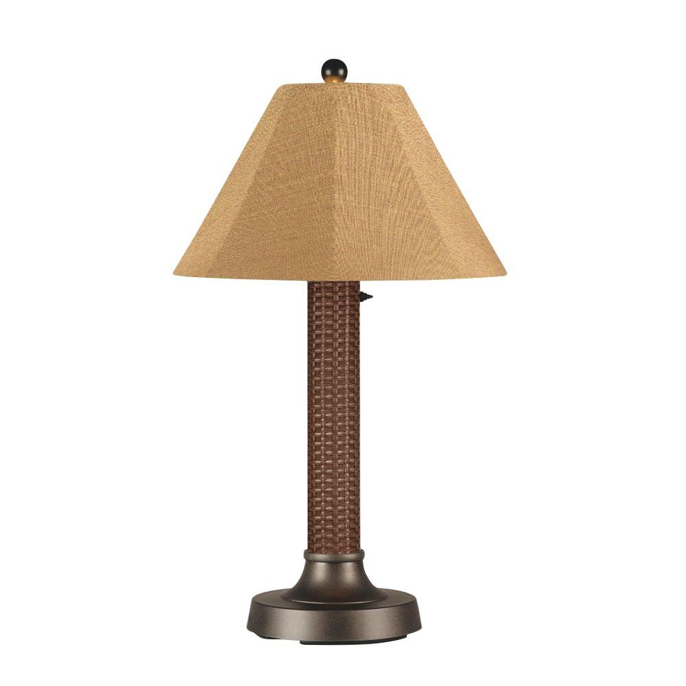 Patio Living Concepts Bahama Weave 34 in. Red Castagno Outdoor Table Lamp with Straw Linen Shade