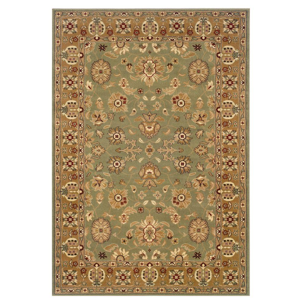 LR Resources Traditional Green and Gold 7 ft. 9 in. x 9 ft. 9 in. Plush Indoor Area Rug