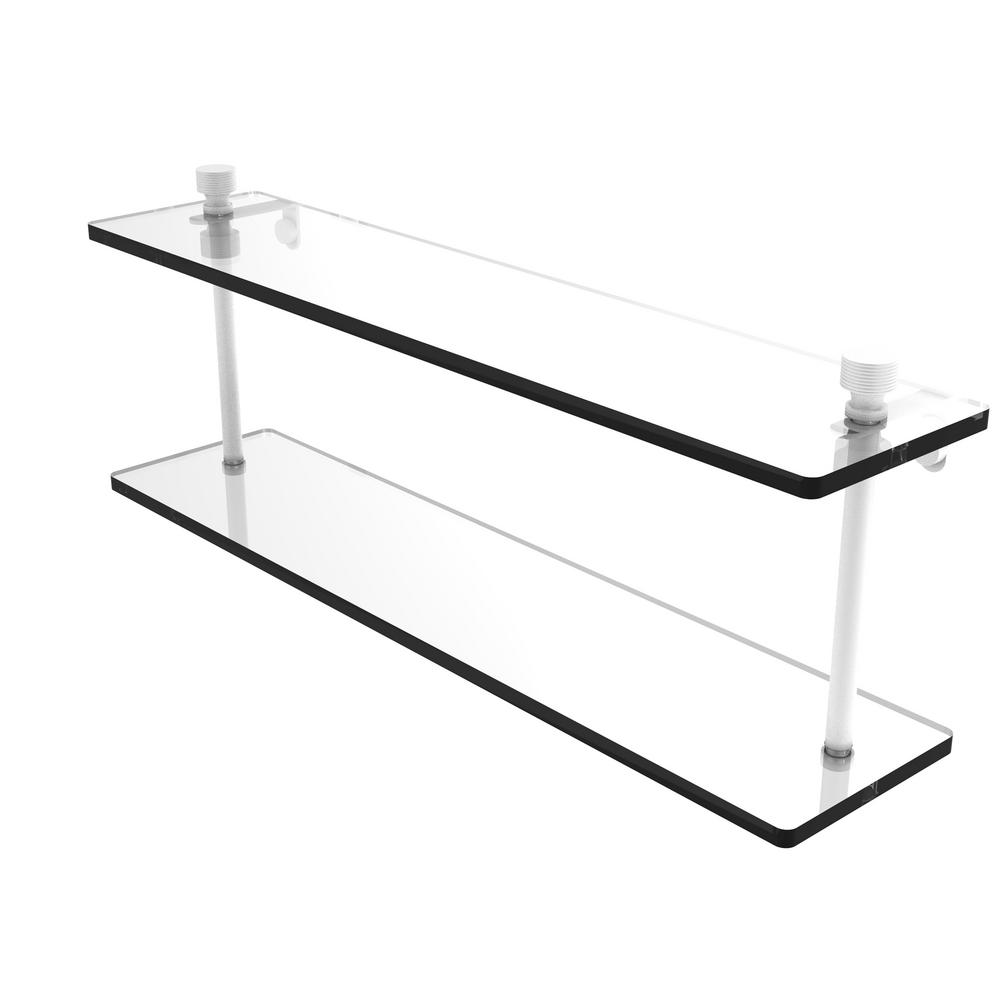 . Allied Brass Foxtrot Collection 22 Inch Two Tiered Glass Shelf in Matte  White