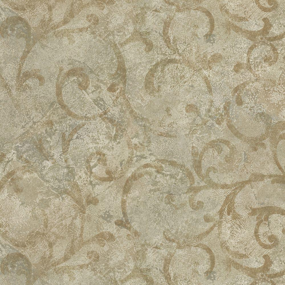 Brewster 56 sq. ft. Marble Textured Scroll Wallpaper