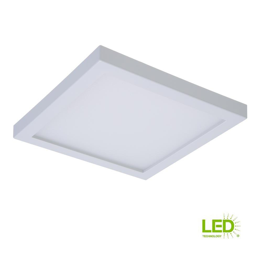 Halo smd 4 in white integrated led recessed square surface mount ceiling light fixture with