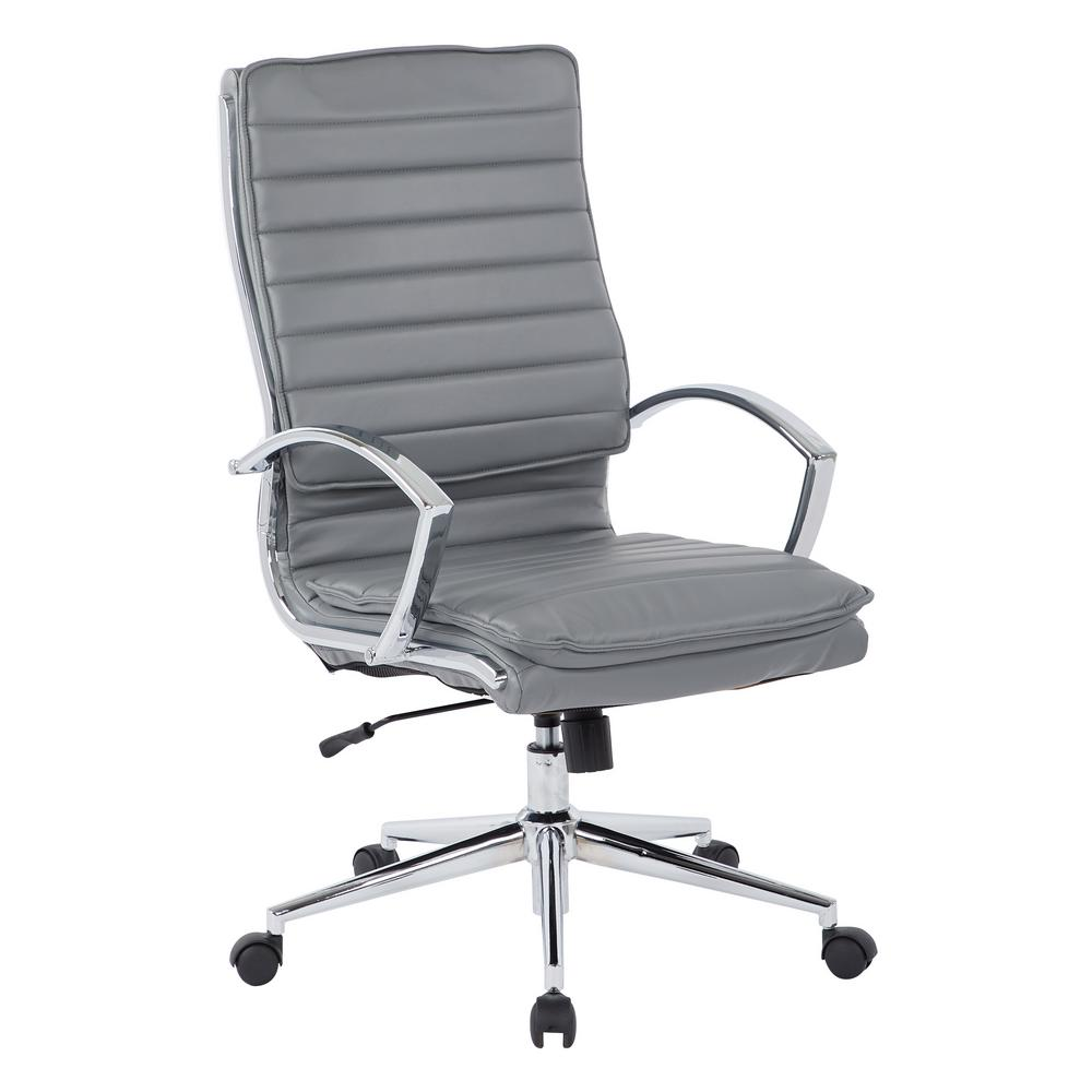 High Back Manager's Faux Leather Chair in Charcoal with Chrome Base