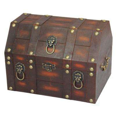 Vintiquewise 13 in. x 9.5 in. x 9.5 in. Wooden Antique Pirate Treasure Chest with Lion Rings