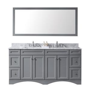 Virtu USA Talisa 72 inch W x 22 inch D Vanity in Grey with Marble Vanity Top in White with White Basin and Mirror by Virtu USA