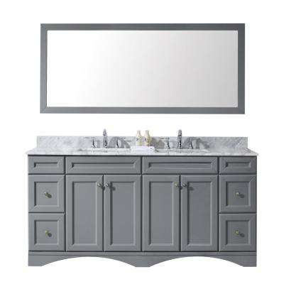 Talisa 72 in. W x 22 in. D Vanity in Grey with Marble Vanity Top in White with White Basin and Mirror