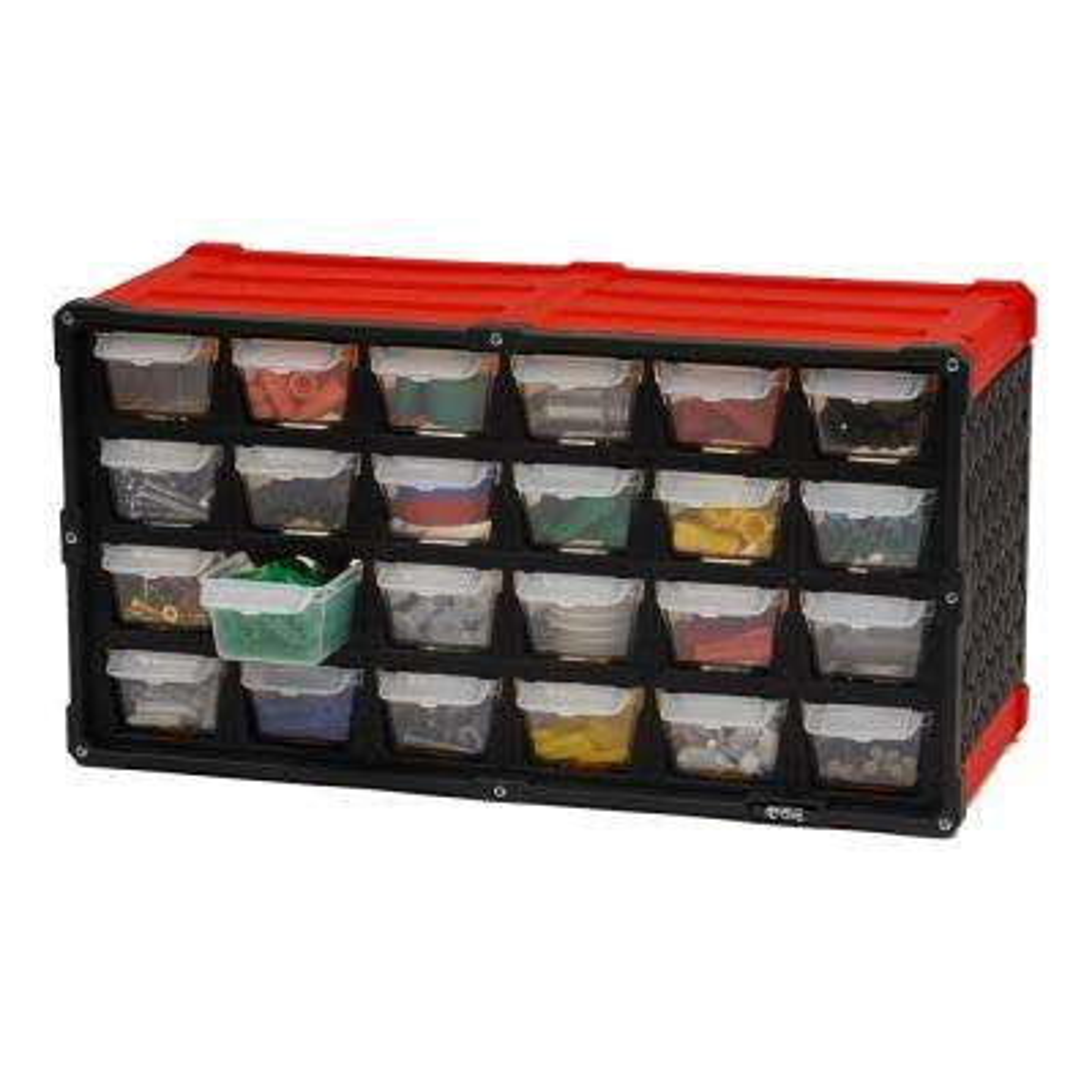 24-Compartment Small Parts Organizer, Red