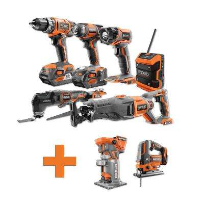 18-Volt Lithium-Ion Cordless Combo Kit (6-Tool) (2) 4Ah Batt and Charger w/Bonus Brushless Jig Saw and Trim Router