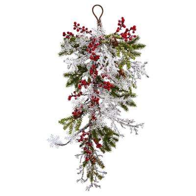 26 in. Berry, Pine and Snowflake Teardrop