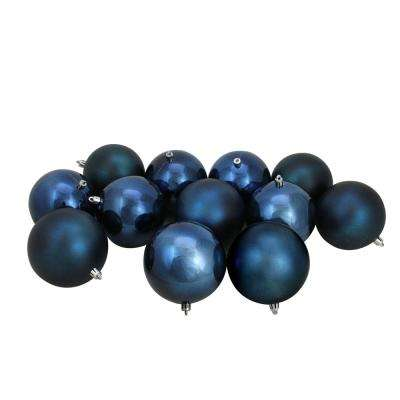 4 in. (100 mm) Sapphire Blue Shatterproof Shiny and Matte Christmas Ball Ornaments (12-Count)
