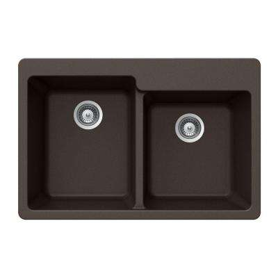 Quartztone Drop-In Composite Granite 33 in. 2-Hole Double Bowl Kitchen Sink in Mocha