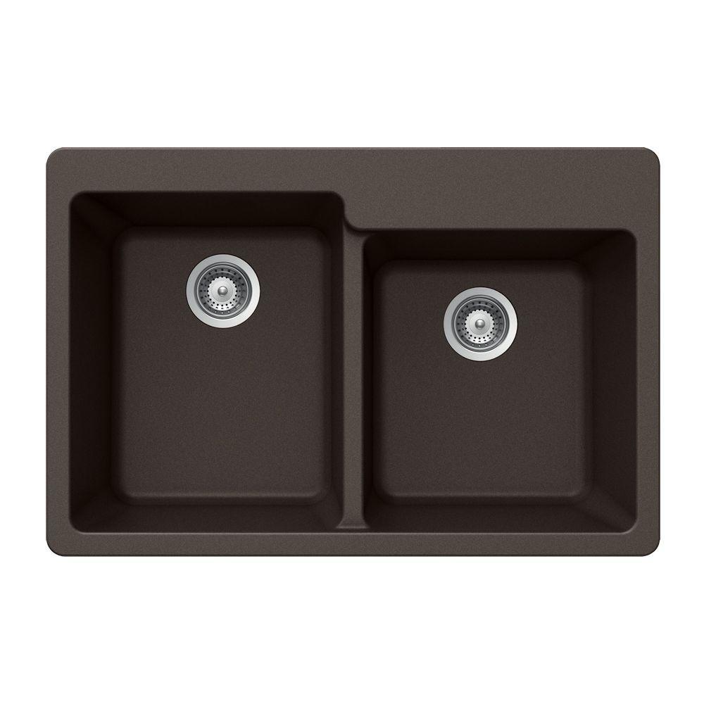 Quartztone Drop-In Composite Granite 33 in. 2-Hole Double Bowl Kitchen Sink in Mocha