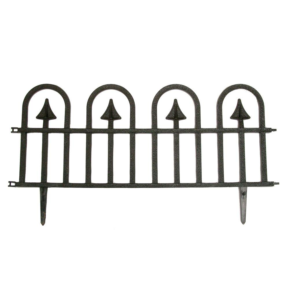 Vigoro 12 in. H Black Resin Garden Border Fence