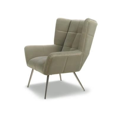 Gerald Mid-Century Modern Stone Grey Tufted Wingback Armchair