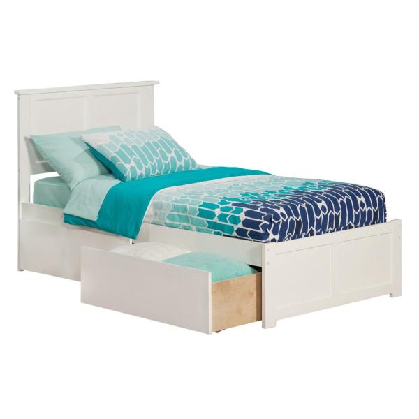 Atlantic Furniture Madison White Twin Platform Bed with Flat Panel Foot