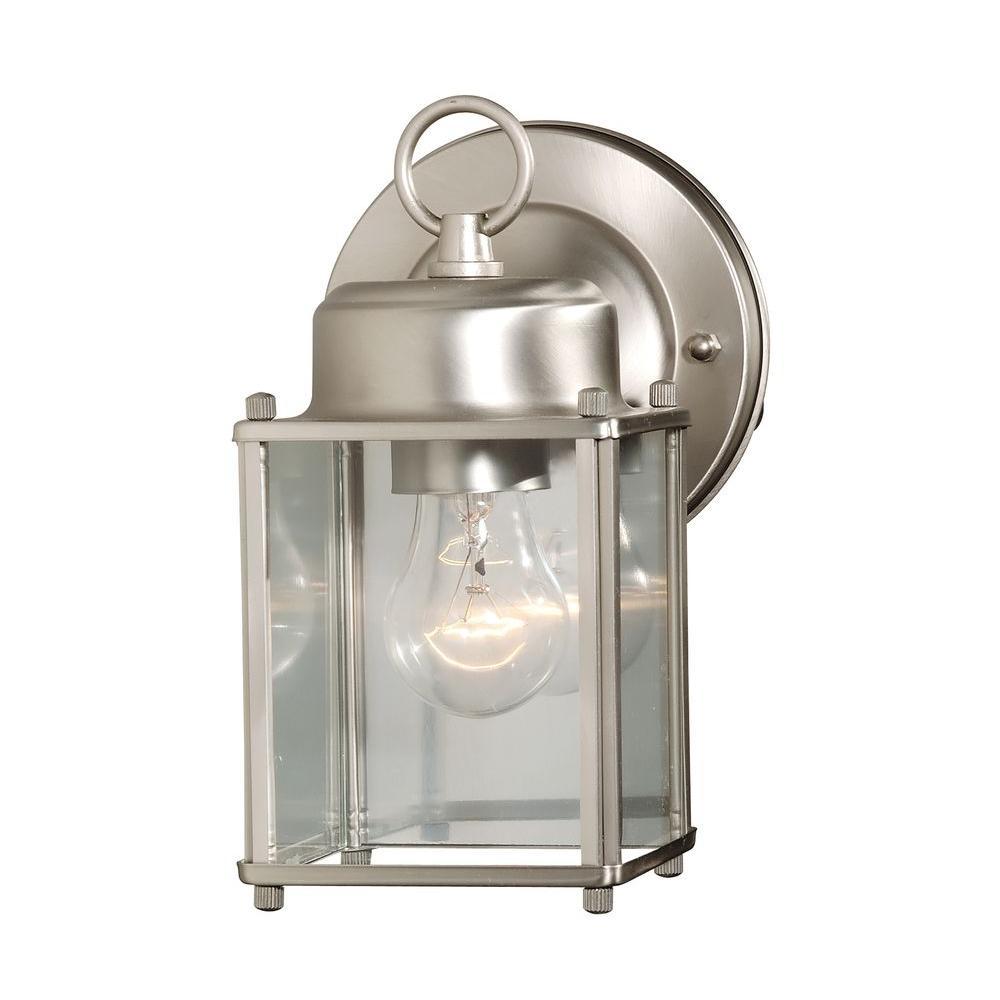 Holger 1-Light Satin Nickel Outdoor Wall Mount Lantern