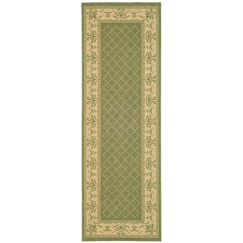 Safavieh Courtyard Olive/Natural 2 ft. 3 in. x 10 ft. Indoor/Outdoor Runner