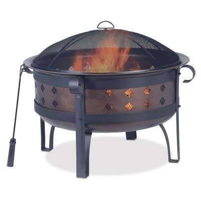 34 in. Brushed Copper Deep Firebowl with Diamonds