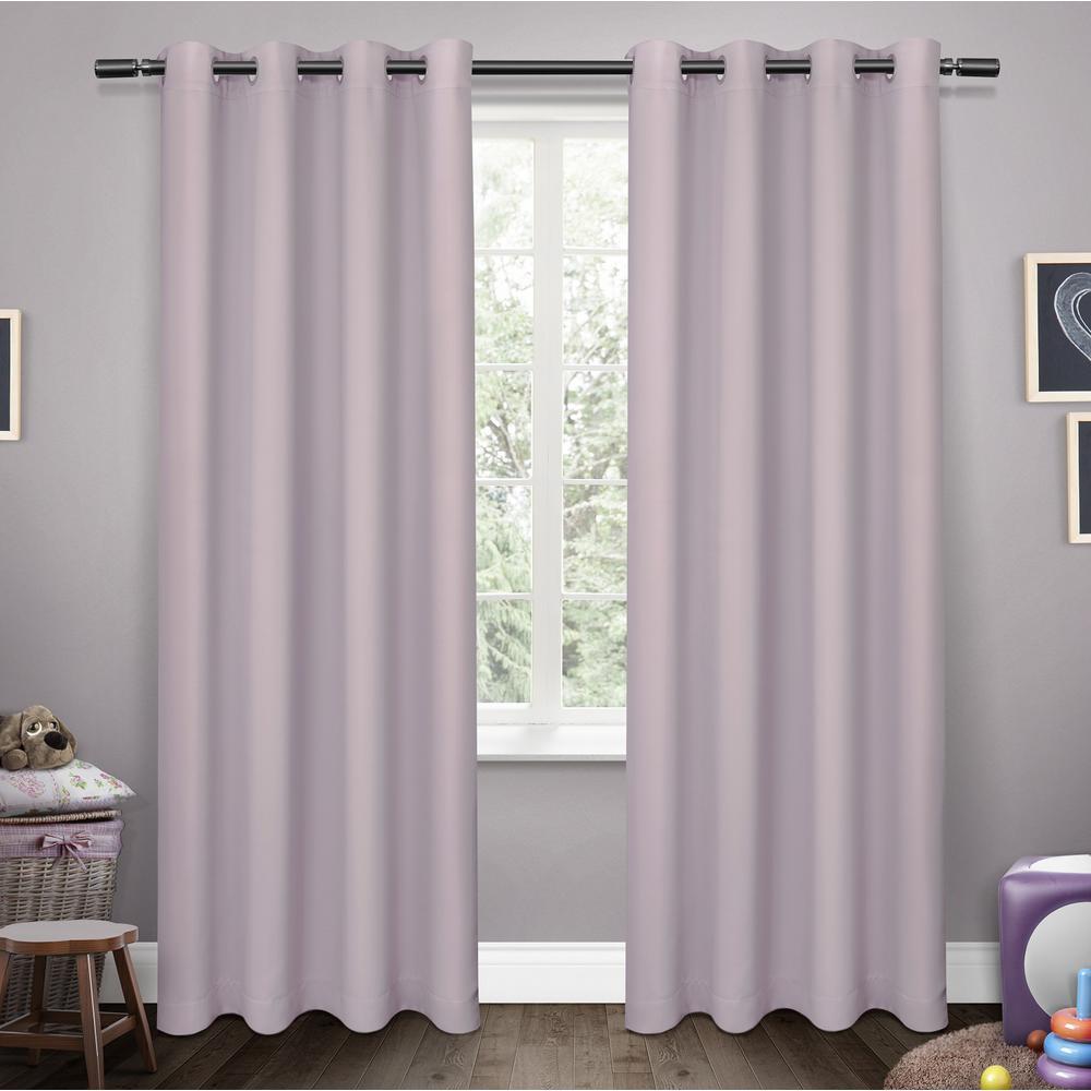 Sateen Lilac Twill Weave Blackout Grommet Top Window Curtain