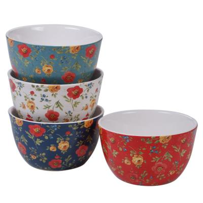 Country Fresh 4-Piece Country/Cottage Multi-Colored Ceramic 22 oz. Ice Cream Bowl Set (Service for 4)