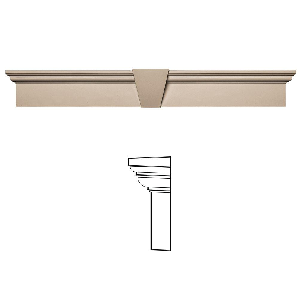 Builders Edge 6 in. x 43-5/8 in. Flat Panel Window Header with Keystone in 023 Wicker