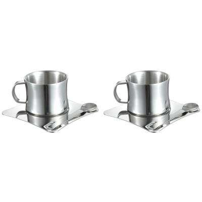 4 oz. Stainless Steel Double Walled Coffee Cup with Spoon (Set of 2)