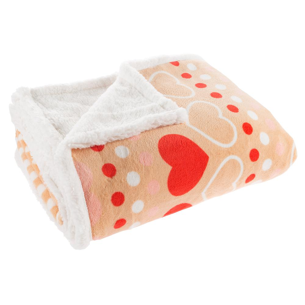 lavish home pink heart and polka dot plush sherpa fleece throw 61
