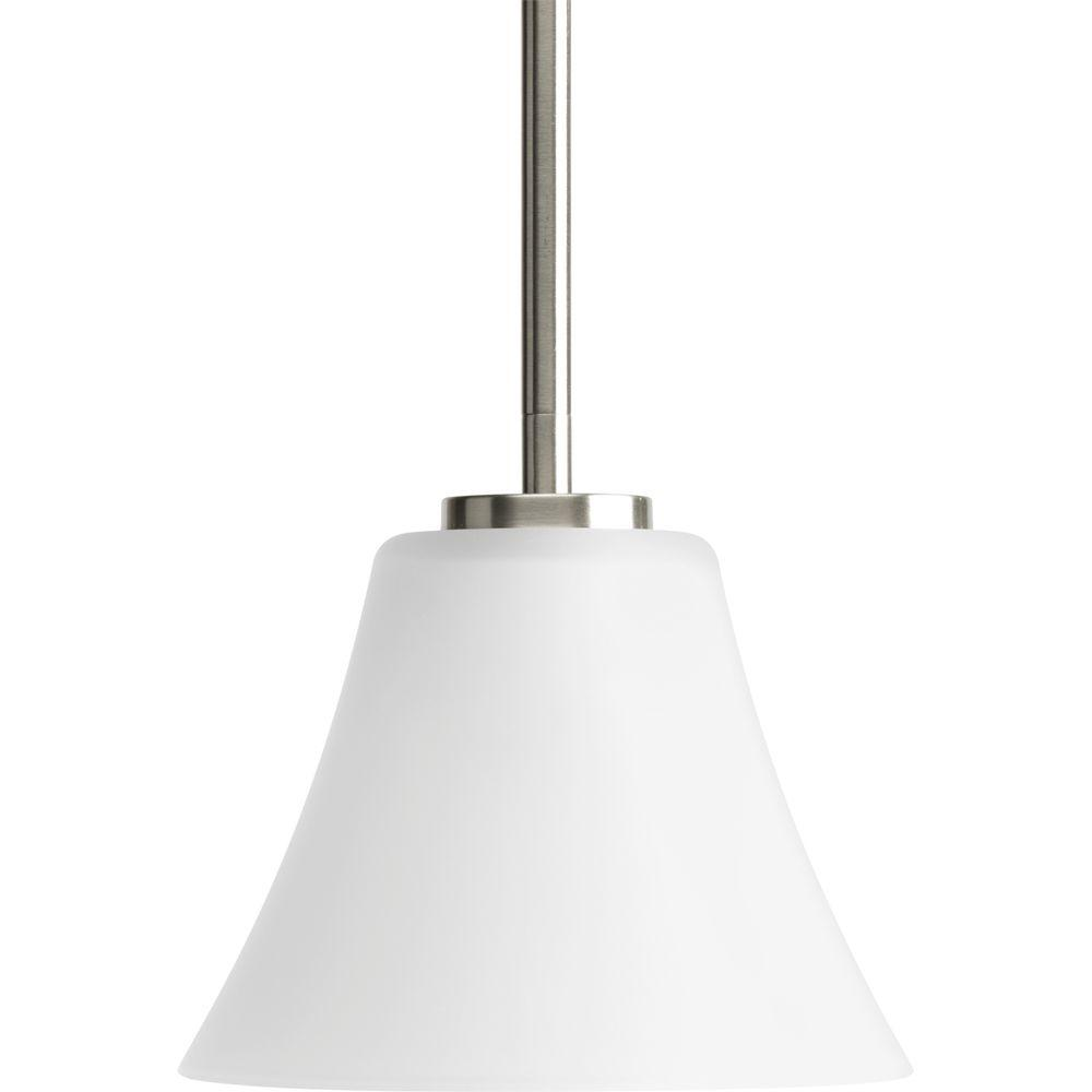 Perfect Progress Lighting Bravo Collection 1 Light Brushed Nickel Mini Pendant With  Etched Glass