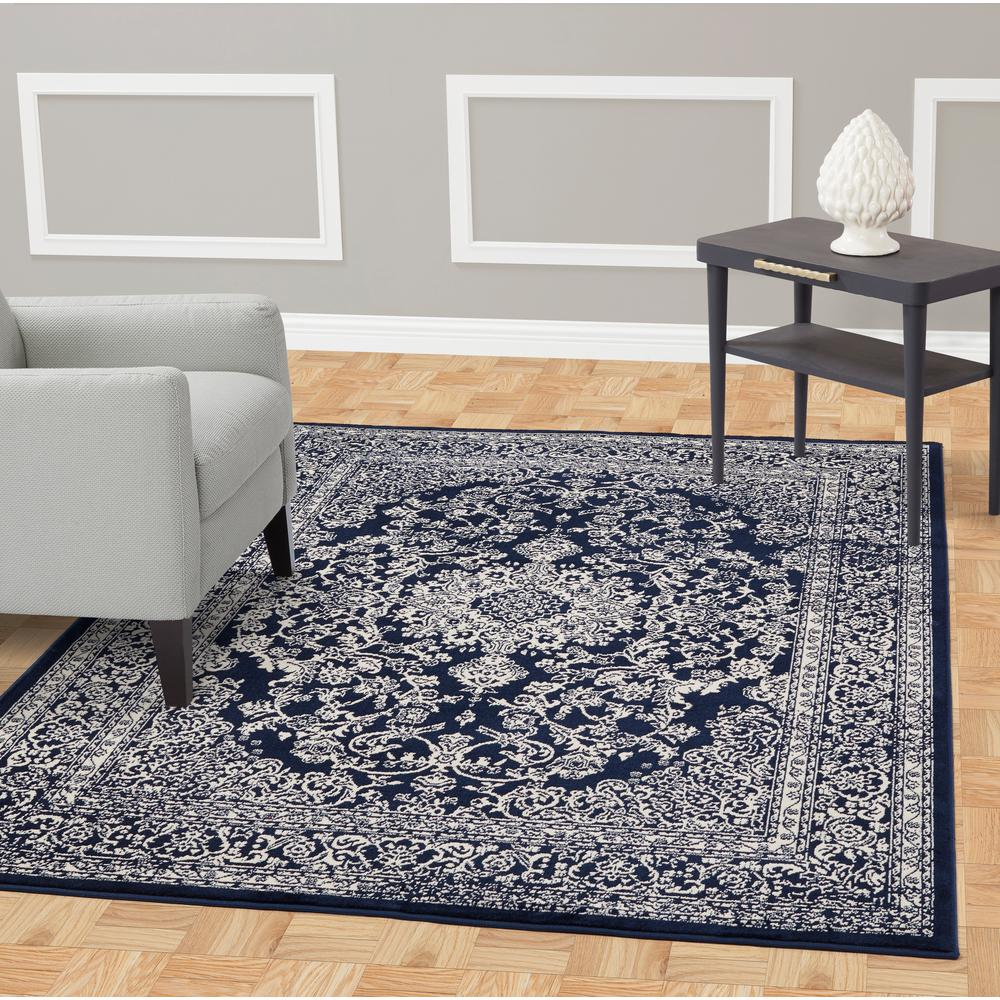 Jasmin collection navy and ivory 6 ft 7 in x 9 ft 3 in oriental medallion area rug