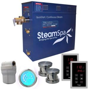 SteamSpa Royal 10.5kW QuickStart Steam Bath Generator Package in Polished Brushed Nickel by SteamSpa
