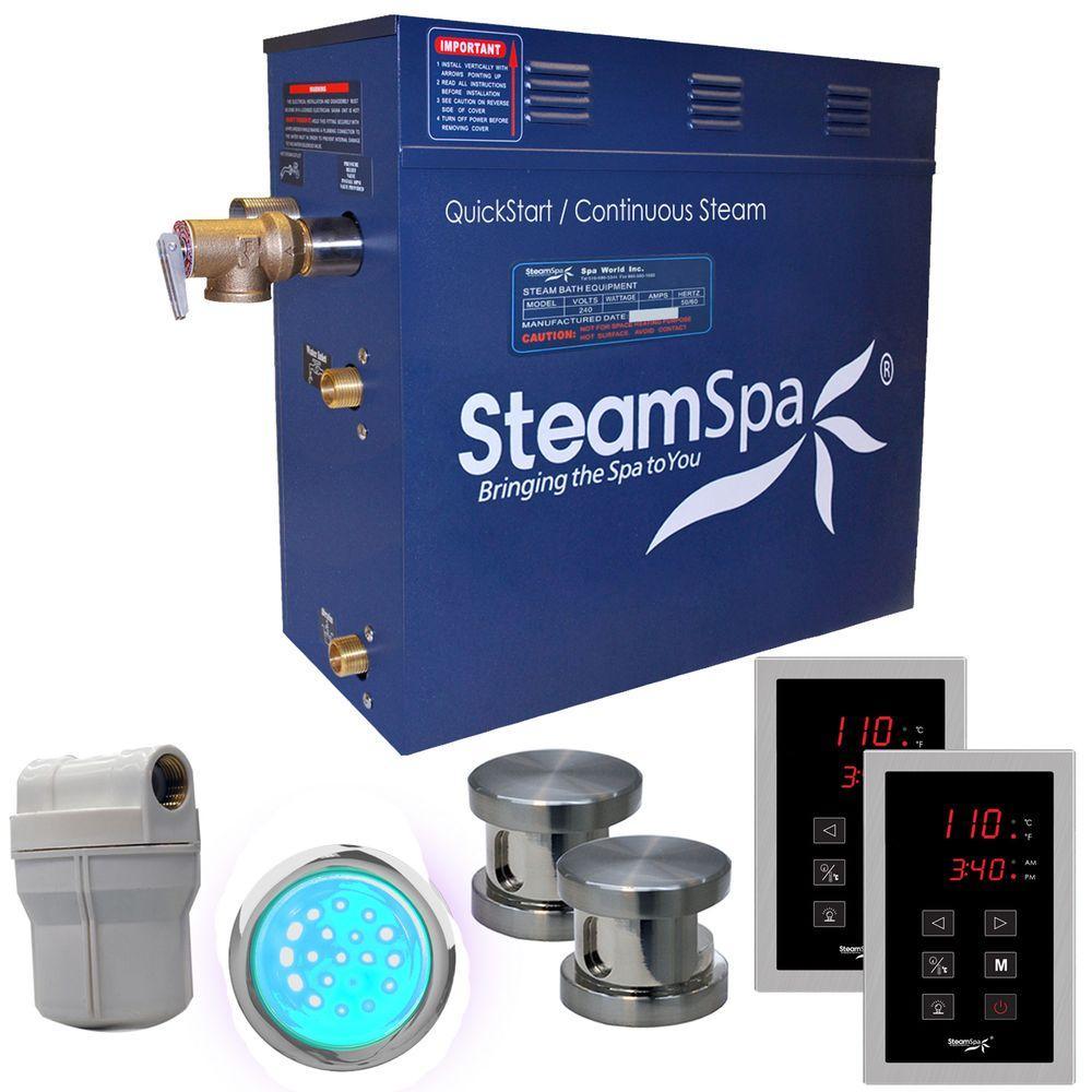 Royal 12kW QuickStart Steam Bath Generator Package in Polished Brushed Nickel