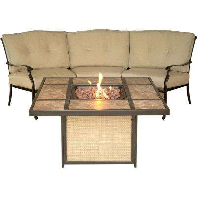 Traditions 2-Piece Aluminum Patio Fire Pit Conversation Set with Tile-Top Fire Pit and Natural Oat Cushions
