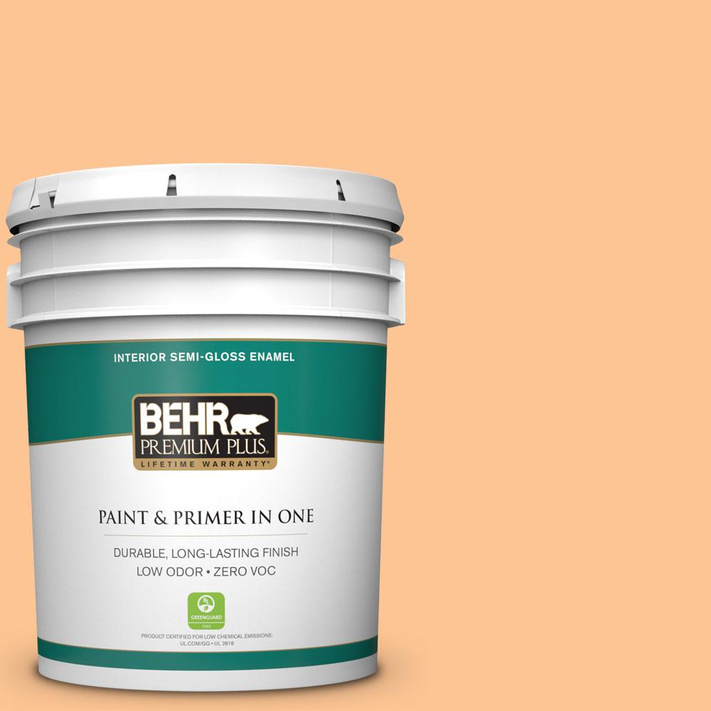 5-gal. #P220-4 Dainty Apricot Semi-Gloss Enamel Interior Paint
