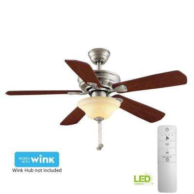 Wellston 44 in. LED Brushed Nickel Smart Ceiling Fan with Light Kit and WINK Remote Control