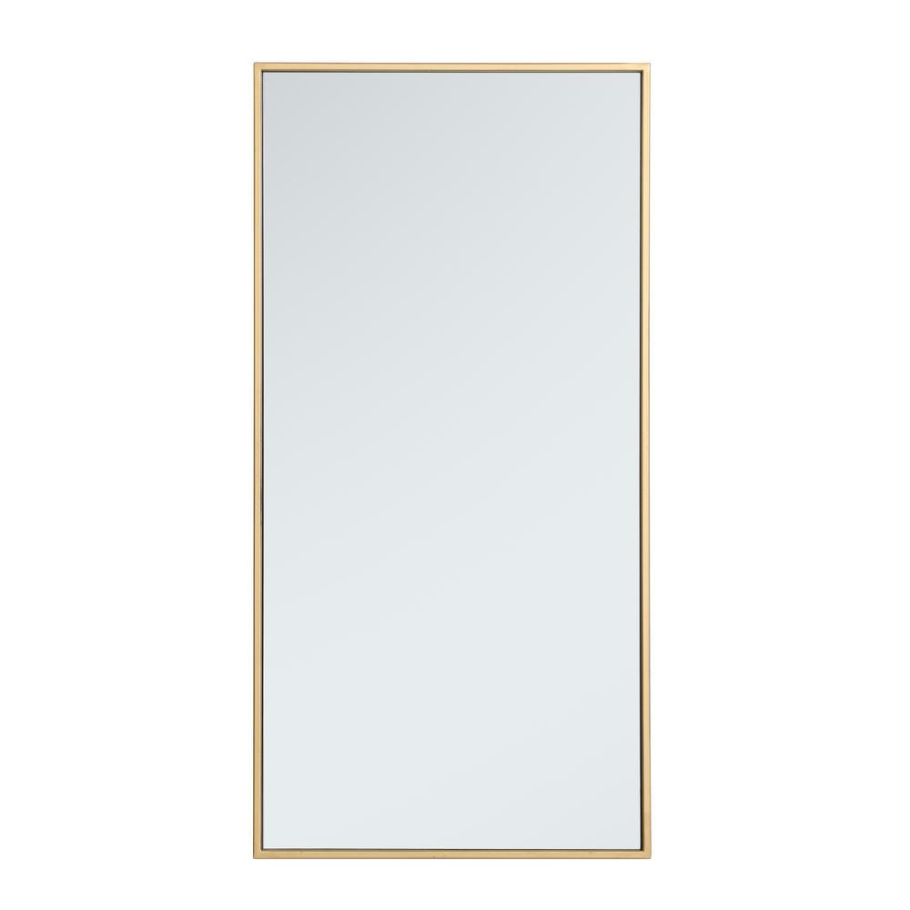 Medium Rectangle Brass Modern Mirror (36 in. H x 18 in. W)