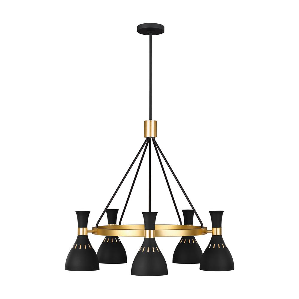 Generation Lighting Designer Collections Ed Ellen Degeneres Crafted By Joan 32 In W 5 Light Matte Black Chandelier With Hourgl