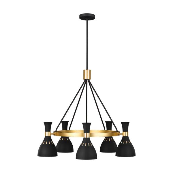 ED Ellen DeGeneres Crafted by Generation Lighting Joan 32 in. W 5-Light Matte Black Chandelier with Hourglass Shades