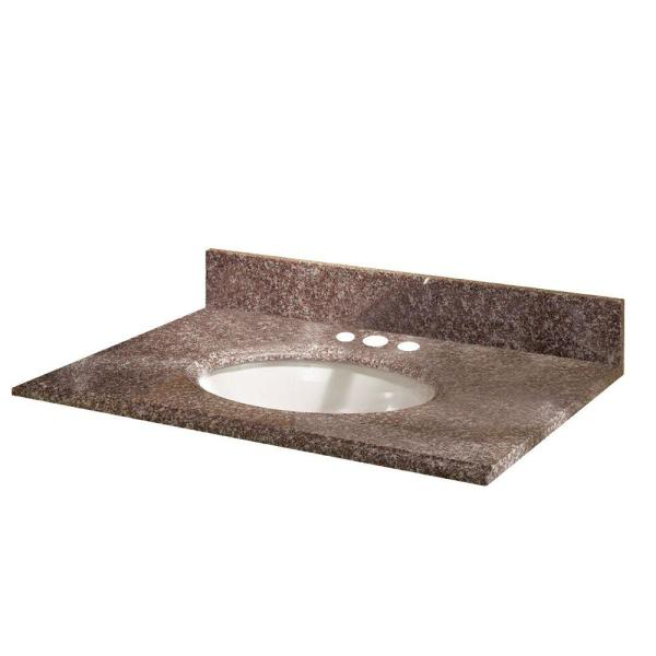 Pegasus 31 in. Granite Vanity Top in Montero with White Basin