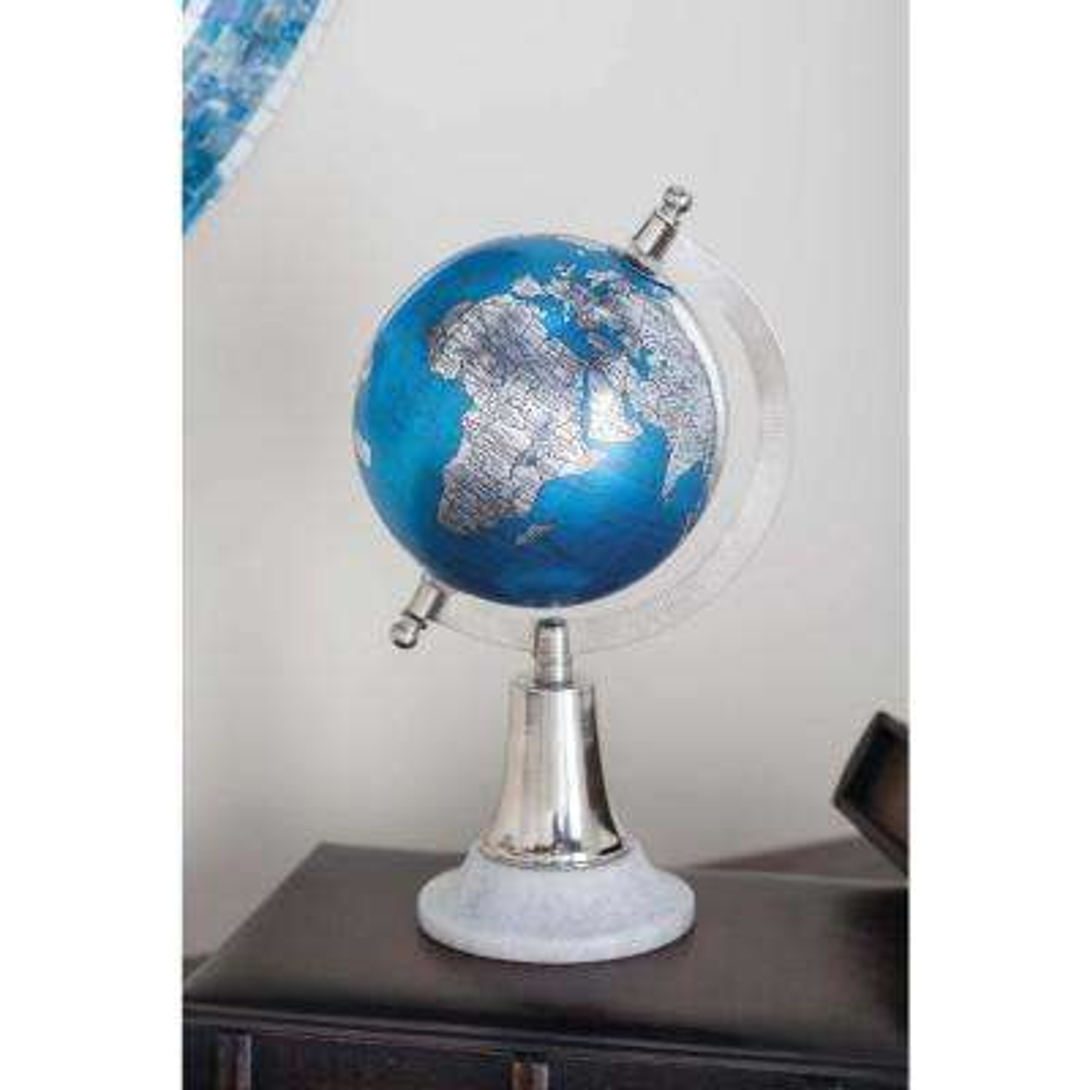 11 in. x 6 in. Modern Decorative Globe in Blue and Silver