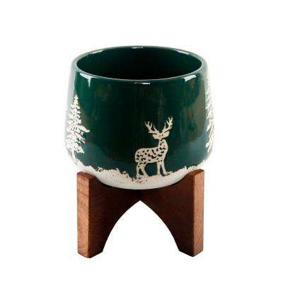 6.75 in. Green Ceramic Christmas Trees and Deer Textured Planter on Wood Stand