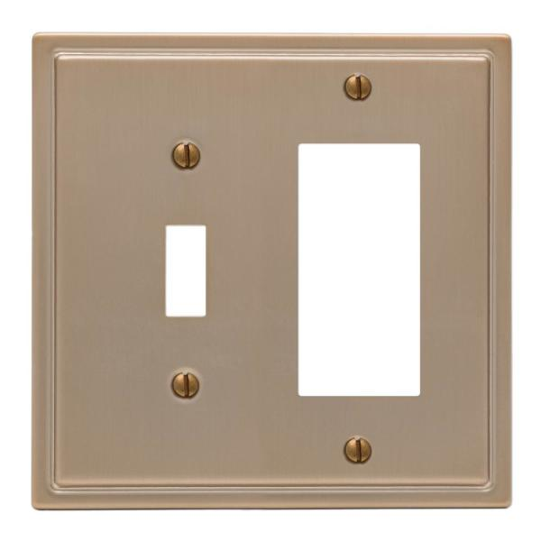 Moderne 2 Gang 1-Toggle and 1-Rocker Steel Wall Plate - Brushed Bronze