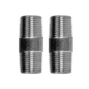 Pipe Decor 1/2 in. x 2 in. Black Steel Pipe Connector (2-Pack)