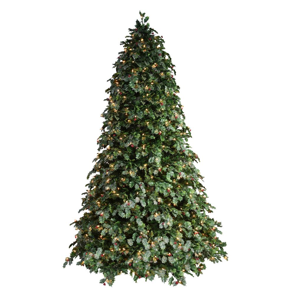 Puleo International 7.5 ft. Pre-Lit Holly Holiday Artificial Christmas Tree with 550 UL-Listed Incandescent Lights