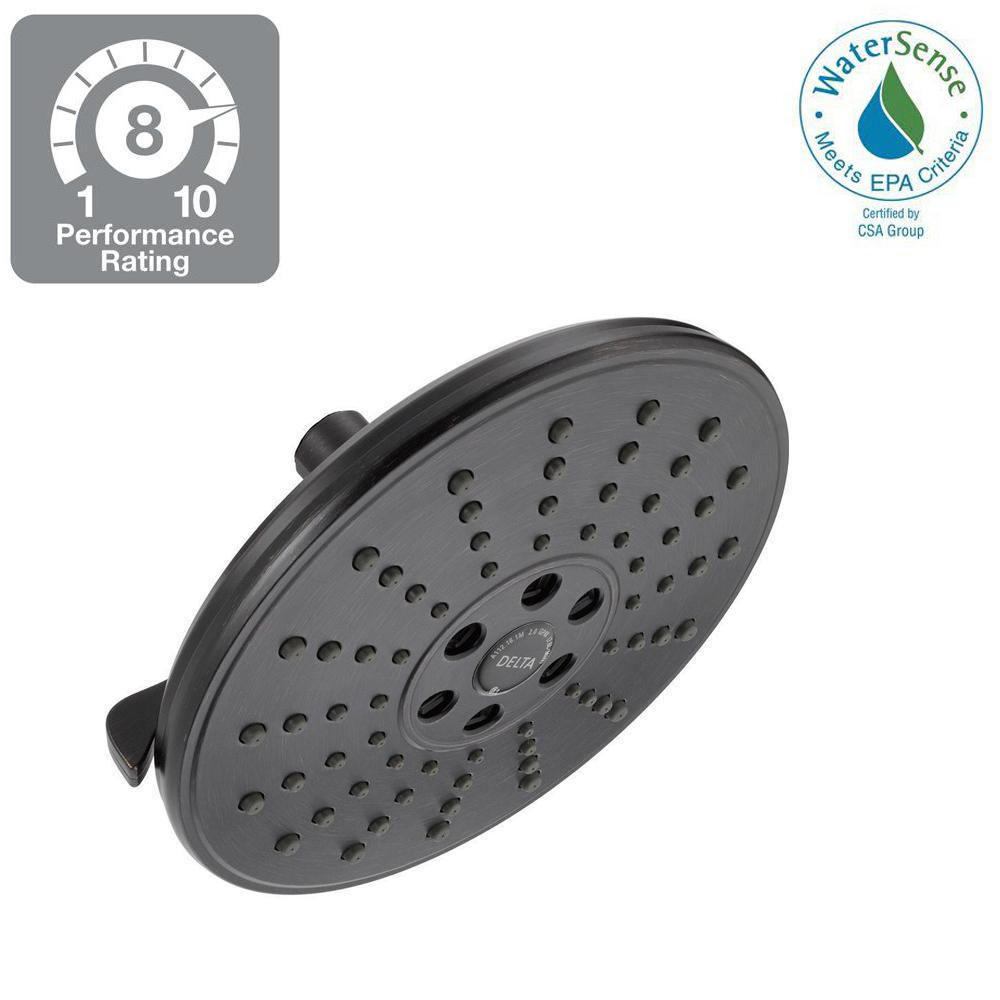 Delta 3-Spray 7-11/16 in. H2Okinetic Showerhead in SpotShield ...