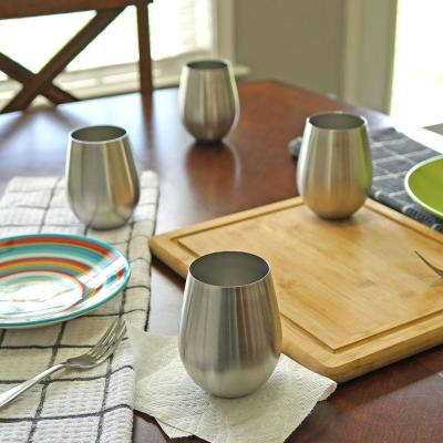 Stainless Stemless Wine Glass (Set of 4).