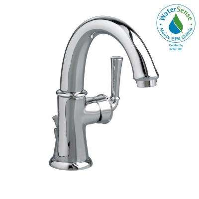 Portsmouth Monoblock Single Hole Single Handle Mid-Arc Bathroom Faucet with Speed Connect Drain in Polished Chrome