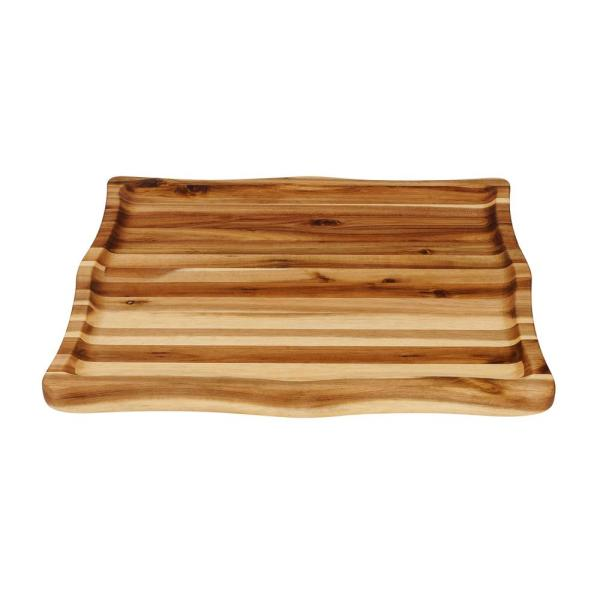 ''The Scoop'' 13.5 in. x 16 in. x 1.5 in. Thick Concave Acacia Cutting Board